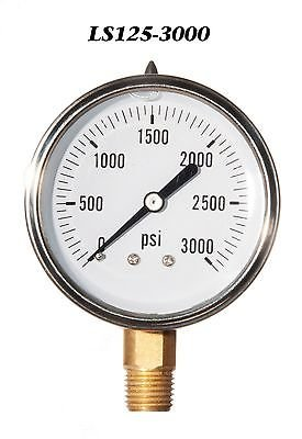 Hydraulic Liquid Filled Pressure Gauge 0-3000 PSI ()