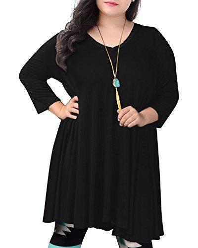 Nemidor Women's V Neck Long Sleeved Casual Loose Plus Size T-Shirt Swing Dress (22W, Black)