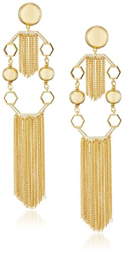 Boho-Chic Vacation & Fall Looks - Standard & Plus Size Styless - Rachel Zoe Remy Fringe Statement Drop Earrings