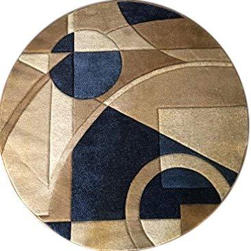 - Modern Round Contemporary Abstract Area Rug Blue Geometric Design 322 (5 Feet 3 Inch X 5 Feet 3 Inch)