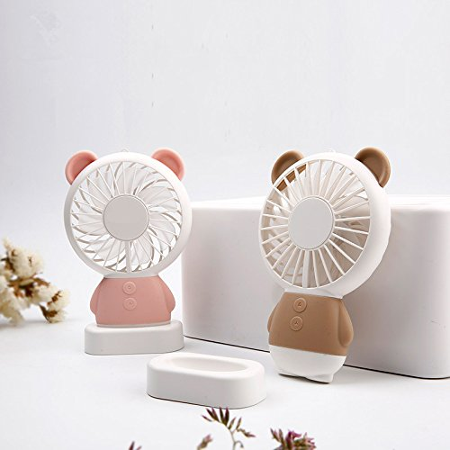 TechCode Handheld Electric Fans, Cute USB Charger Noiseless Fans 2 Speed Adjustable Rechargeable Handhold Portable Personal Fans Creative Cooling Mini Fan with Colorful Led Night Light (Brown) by TechCode (Image #4)