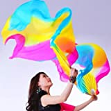 1.8M 5 Colors Belly Dance Fan Bamboo Long Silk Fans Dance Performance Supplies^.