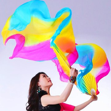 1.8M 5 Colors Belly Dance Fan Bamboo Long Silk Fans Dance Performance Supplies^. (Flower Dance Streamer compare prices)