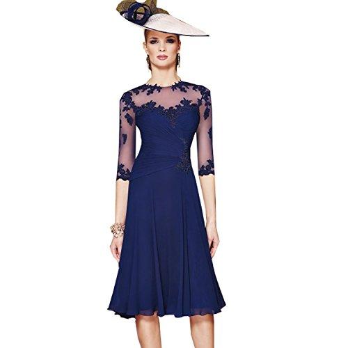 Newdeve Deep Royal Chiffon Jewel Knee Length Mother Dress Bride (2)