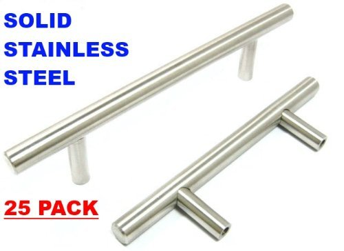 Pandora SOLID Stainless Steel Bar Pull Handle For Drawer Kitchen Cabinet Hardware 16-inch T Pull - 25 PACK
