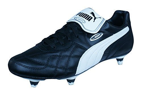 Mens Leather Soccer Boots/Cleats-Black-12 ()