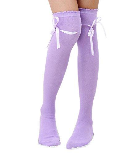 Gliterstar Retro Thigh High Tube Socks Casual Sport Cosplay Stripe Long Socks for Women Girl (1 Pair, Purple) (Girl Cosplays)