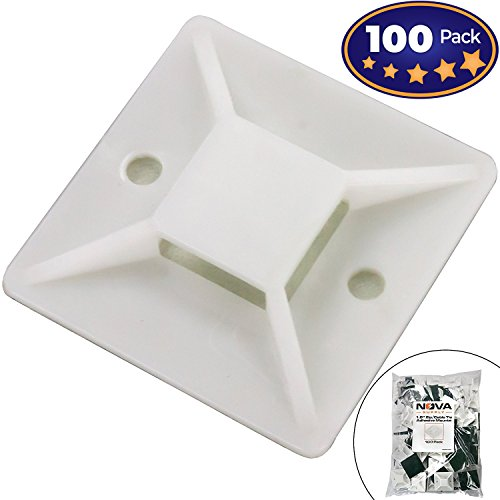 Super-Adhesive X-Large Cable Tie Mounts 100 Pack For Fast, Frustration-Free Wire Management. Anchor These Zip Tie Bases Tools-Free With Sticky Backs Or Use Screw-Holes For Permanent Hold - Tool Free Mounting