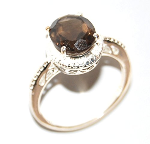 Brazilian Smoky Quartz Ring in Sterling Silver Nickel Free (Size (Diamond Smoky Ring)