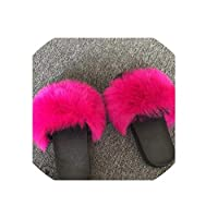 Real Fox Hair Slippers Flip Flops Summer Shoes Beach Slippers Slides Slip On Shoes Furry Slippers,False Hair,7.5