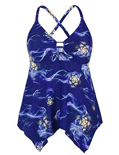 - Mycoco Women's Front Tie Swim Top Cross Back Tankini Top Flowy Swimdress Tummy Control Blue Fog US 18