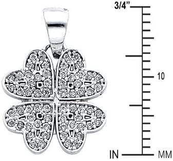 14k White Gold Four Hearts CZ Pendant with 1.2mm Cable Chain Necklace