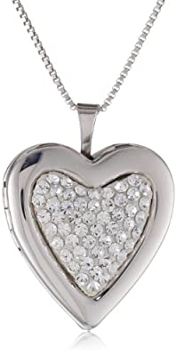 """Sterling Silver White Crystal Heart Locket Necklace, 18"""""""
