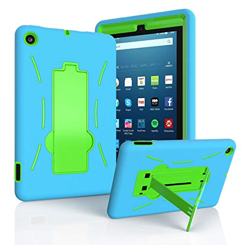 - EpicGadget Case for 2019 Amazon Fire 7 Tablet (9th Generation, 2019 Released) - Heavy Duty Hybrid Case Cover with Kickstand + 1 Screen Protector and 1 Stylus (Blue/Green)