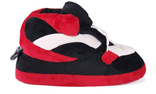 Sneaker Feet Standard Womens Black and White Happy Mens Slippers Red q1twWId