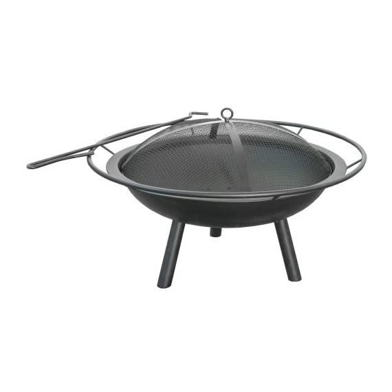 Landmann USA 28240 Halo Fire Pit - Spark Guard and Poker included Provides 360 degree view of fire Large handle for easy transport - patio, outdoor-decor, fire-pits-outdoor-fireplaces - 41rJFzkkSkL. SS570  -