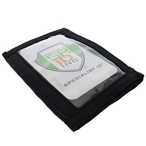 Tri-Fold Nylon Wallet with Outside ID Window - USA Made - Slim Front Pocket Badge Holder - Great for Military or Civilian Use by Specialist ID