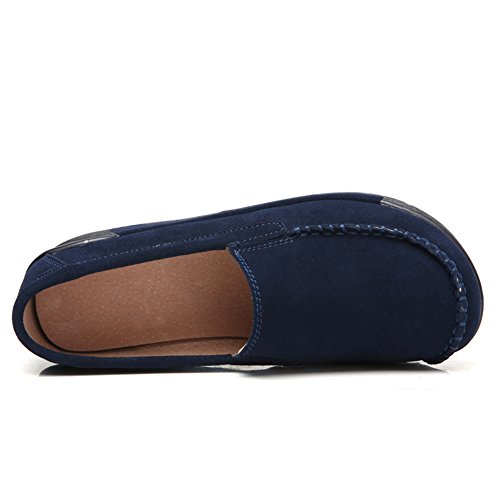 Toe STQ Blue Loafers Slip On Moccasin Round Suede Wedge Women Comfort Navy Shoes Platform Work wxwz6qr
