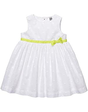 Baby-girls' 2 Pc Fully Lined Cotton Eyelet Dress Set White