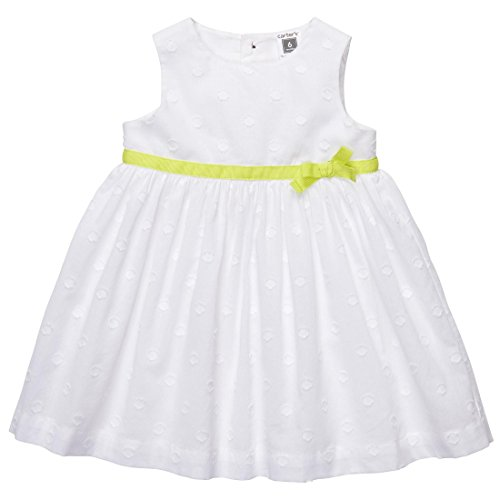 Carter's Baby-girls' 2 Pc Fully Lined Cotton Eyelet Dress Set White (24 Months)