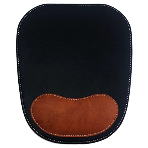 DODOLIGHTNESS Ergonomic Leather Mouse Pad With Wrist Comfort Memory Foam Waterproof Surface(Black&Partial Brown)