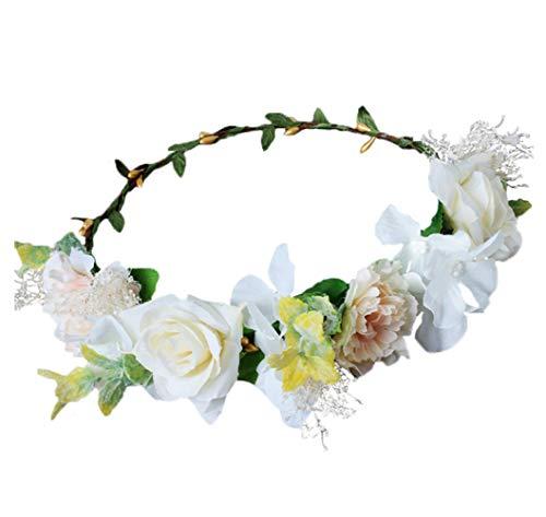 - Vivivalue Flower Wreath Crown Boho Flower Headband Hair Garland Floral Headpiece Halo with Ribbon Wedding Party Festival Photos White