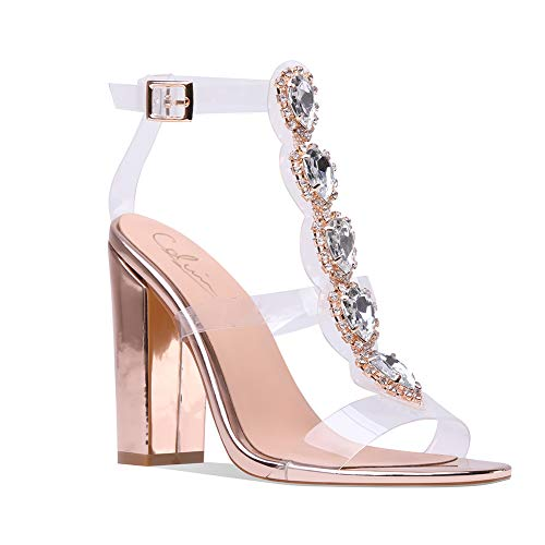 - Cdvintu Womens Cutout Gem Clear Chunky Heels Gladiator Transparent Strip Sandals Ankle Strap Buckle Stilettos with Rhinestones (9.5, Rose Gold)