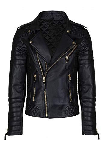Men's Slimfit Biker Diamond Quilted Kay Michael Leather Jacket - 6 Colors (Medium, Black with Golden Zipper)