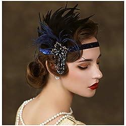 1920s Rhinestone Navy Blue Feather Headband