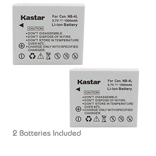 Kastar Battery (2-Pack) for Canon NB-4L, CB-2LV and Canon PowerShot SD1000 SD1100IS SD1400IS SD200 SD30 SD300 SD400 SD430 SD600
