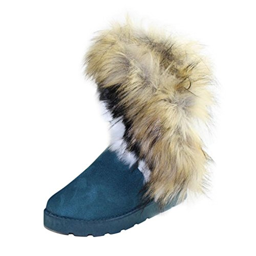 Hee Grand Fur Snow Boots US 7.5 peacock green