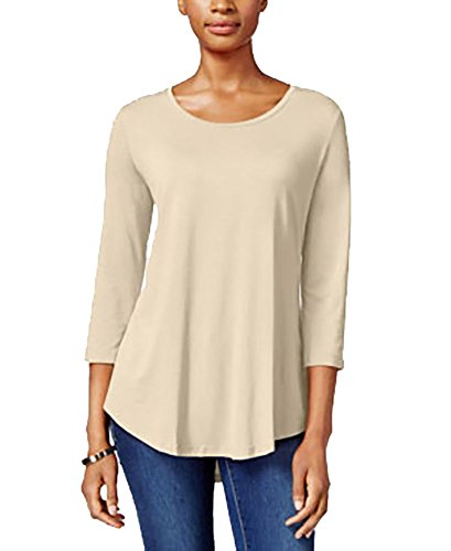 JM Collection Petite Three-Quarter-Sleeve Top (Stone, PXL/Petite X-Large) from JM Collection