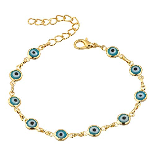 - JewelryJo Good Luck Symbols Eyes Hamsa Hand of Miriam Fatima Lucky Protective Bracelets for Women Girls Aquamarine