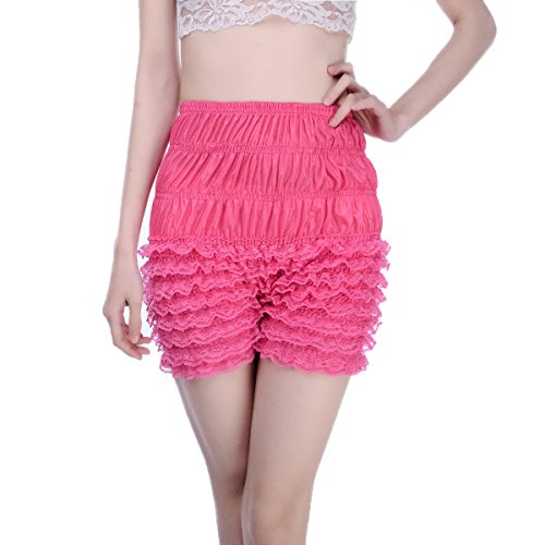 Women's Lace Ruffle Bloomers Sexy Dance Short Slips Rose Red ()
