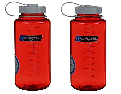 Nalgene 32oz Wide Mouth Everyday Water Bottle - 2 Pack (Red w/ White Lid) (Nalgene Container Travel)