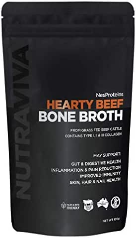 Hearty Beef Bone Broth Collagen Powder - Sourced from 100% AU Grass Fed, Pasture Raised Beef for Max Nutrition - No Preservatives, Additives, Paleo Friendly, Promotes Healthy Gut - Beef Bone Broth