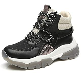 Cestfini Hiking Boots Chunky Sneakers for Women Non-Slip High Top Shoes Fashion Casual Platform Wedge Sneakers Women Ella-Black-5.5