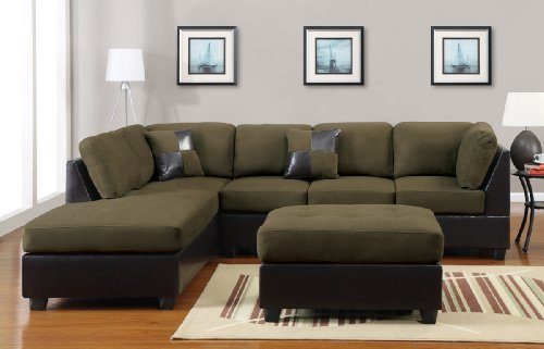 Calfornia Tradeworks PDEX-F7620 poundex 3 Pcs Mushroom Color with Free Ottoman and Pillows Microfiber and Dark Brown Faux Leather Reversible Right/Left Sectional Sofa Couch -