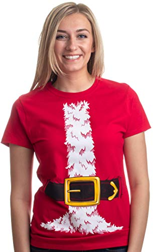 Santa Claus Costume | Jumbo Print Novelty Christmas Holiday Humor Ladies' T-shirt-Ladies,S Red]()