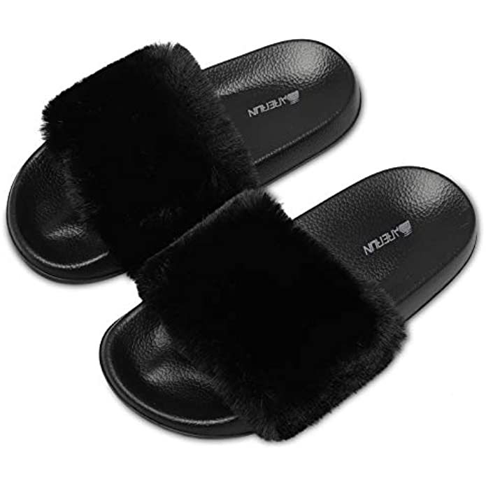 Women's Fuzzy Faux Fur Flat Spa Slide Slippers Open Toe House Indoor Shoes Sandals