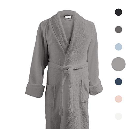 Luxor Linens Couple's Terry Cloth Bathrobe Egyptian Cotton Unisex/One Size Luxurious Soft Plush Elegant (Single Robe, No Monogram, Light Grey)