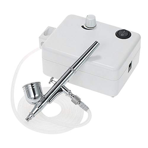 SODIAL Mini Air Compressor Set Dual Action Airbrush Gravity Feed Air Brush Kit For Manicure Craft Cake Spray Tool Nail Tool Set Us Plug ()