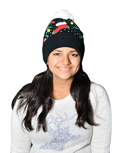 [Light Up Christmas Hat: 7 LED String Light Christmas Stocking Cuff Pom Pom Black Beanie By, ARAD] (The Nightmare Before Christmas Sexy Jack Costumes)