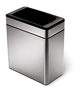 simplehuman profile open trash can stainless steel 10 l 2 6 gal home kitchen. Black Bedroom Furniture Sets. Home Design Ideas