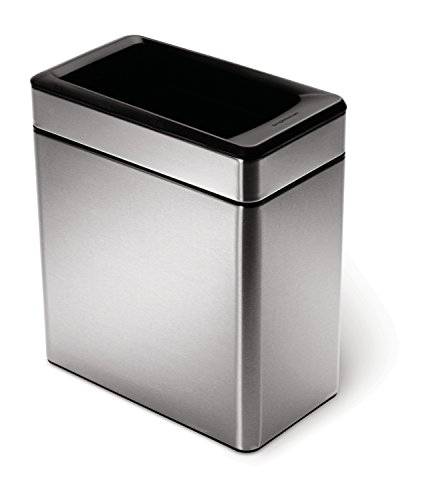 simplehuman Profile Open Trash Can, Stainless Steel, 10 L / 2.6 Gal - Grocery Can Bag Trash