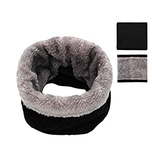 Epeius Kids Girls/Boys Winter Knitted Infinity Scarf Polar Fleece Neck Warmer