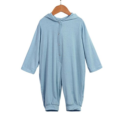 Newborn Infant Baby Boy Girl Dinosaur Hooded Romper Jumpsuit Outfits Clothes (3M, Blue)