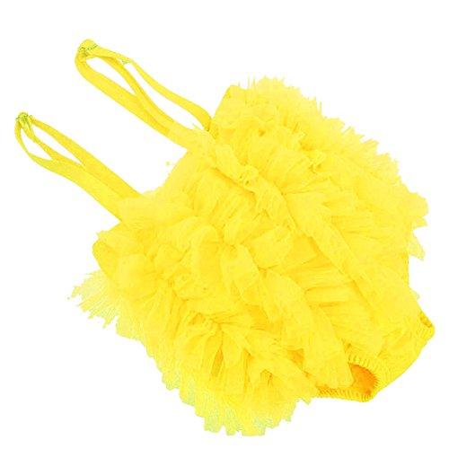 PanDaDa Kids Girls Tulle Lace Bikini One Piece Tutu Dress Swimsuit Yellow 4T