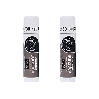 All-Good-Organic-Sunstick-Zinc-Oxide-Sunscreen-for-Face-Nose-Ears-Coral-Reef-Safe-Water-Resistant-SPF-30-6-ozCoconut2-Pack
