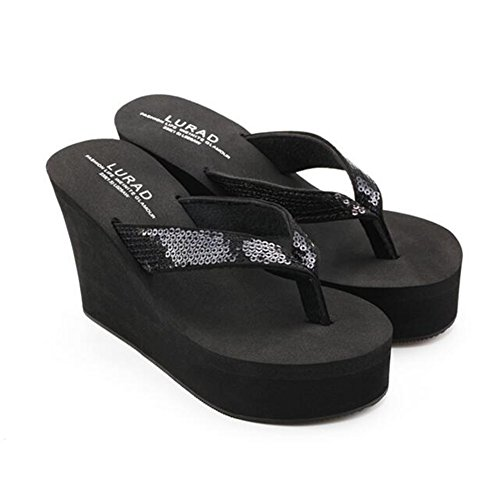 Zomerwhisper Damesschoenen Glitter Lovertjes Platform Ding Sandalen Antislip Sleehak Zandige Slippers Zwart